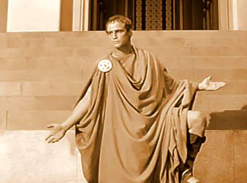 parody of marc antonys funeral speech julius The speech could serve as a thematic synopsis to julius caesar perhaps more than any other of shakespeare's works, julius caesar is a play that hinges upon rhetoric—both as the art of persuasion and an artifice used to veil intent.